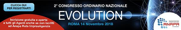 ULTIMI POSTI DISPONIBILI PER PARTECIPAZIONE AL 2° CONGRESSO ORDINARIO NAZIONALE di ANAPA Rete ImpresAgenzia –  Roma, 14 novembre 2018